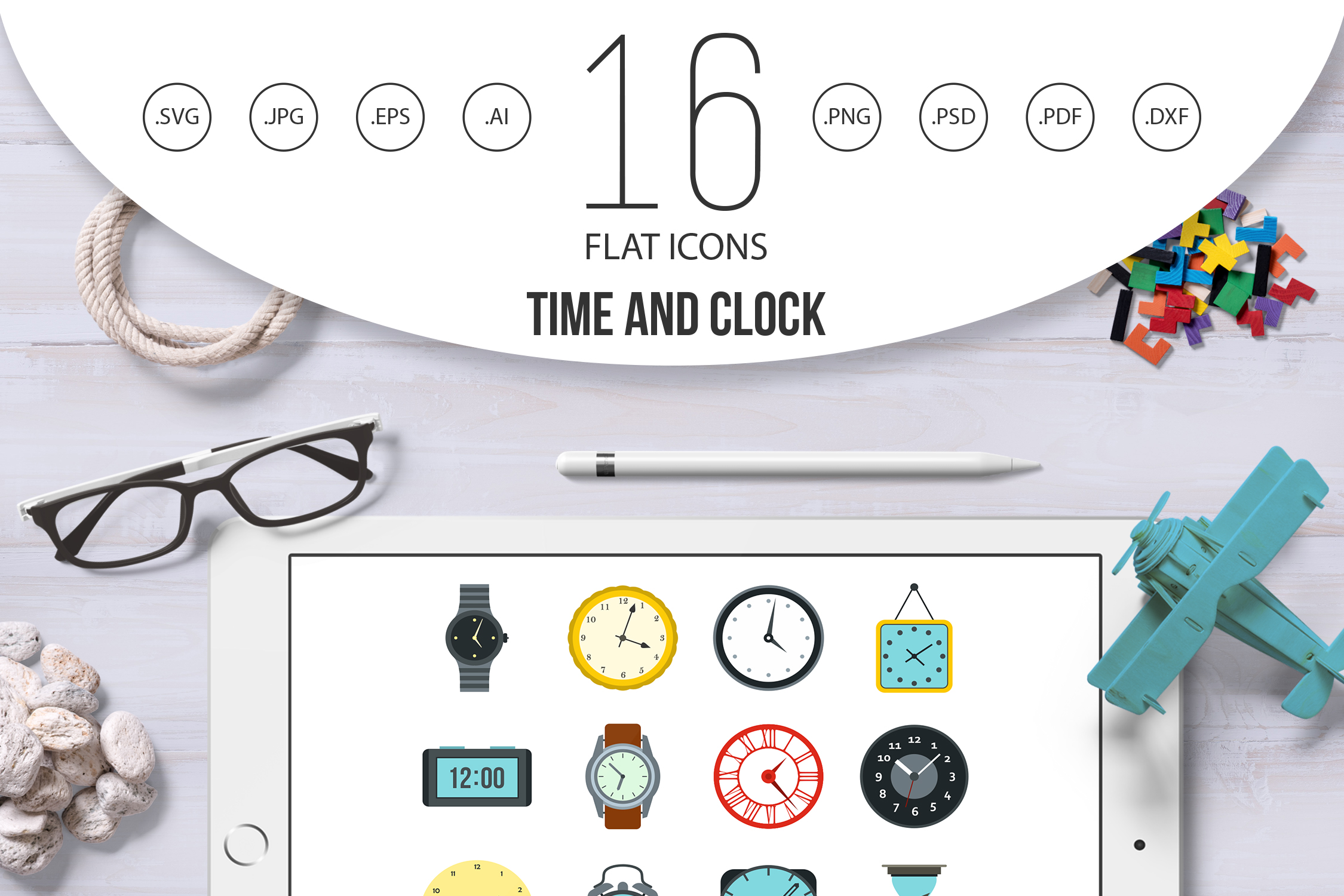 Time and Clock icons set, flat style example image 1