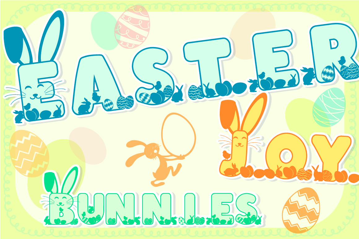 Easter Joy Bunnies - A Lovely Craft Font example image 1