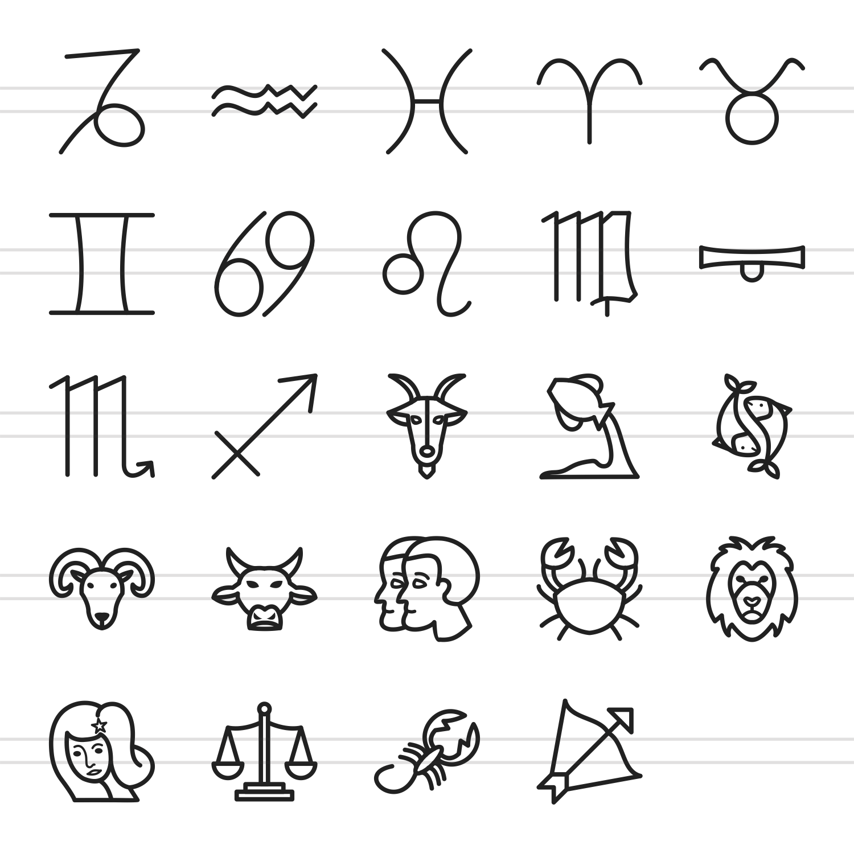24 Zodiac Line Icons example image 2