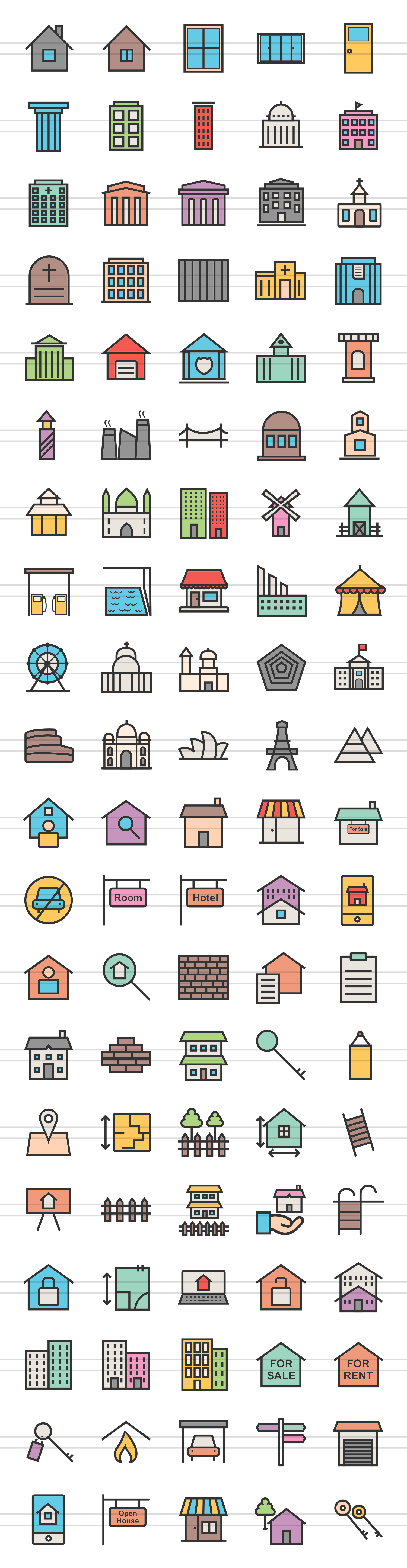 100 Building & Landmarks Filled Line Icons example image 2