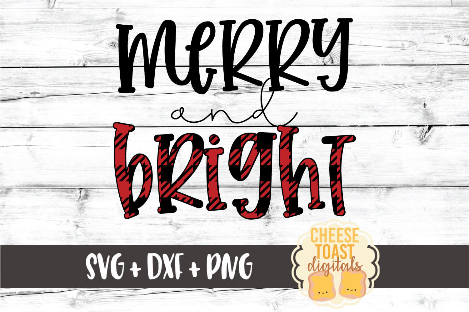 Merry and Bright - Christmas SVG PNG DXF Cut Files example image 2