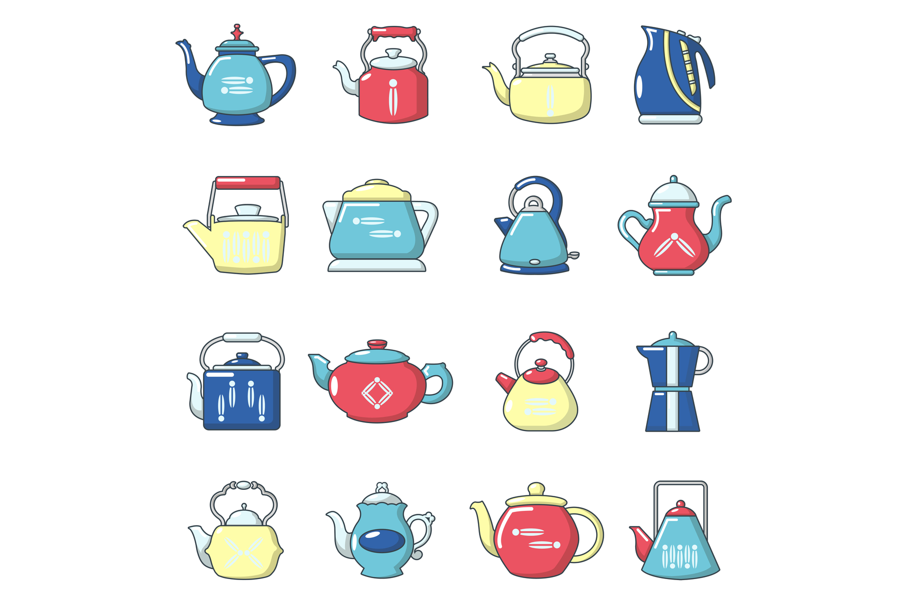 Teapot icons set, cartoon style example image 1