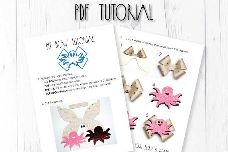 Octopus Hair bow template SVG, DIY leather bow template example image 3