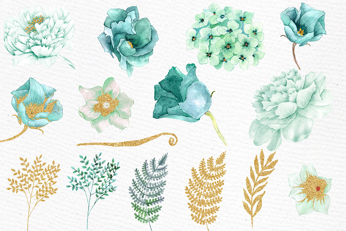 Gold Mint flowers clipart example image 2