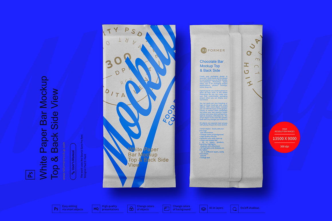 White Paper Bar Mockup Top & Back Side View example image 1
