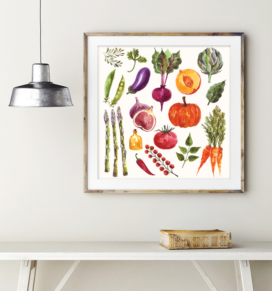 Watercolor vegetables & fruits example image 9