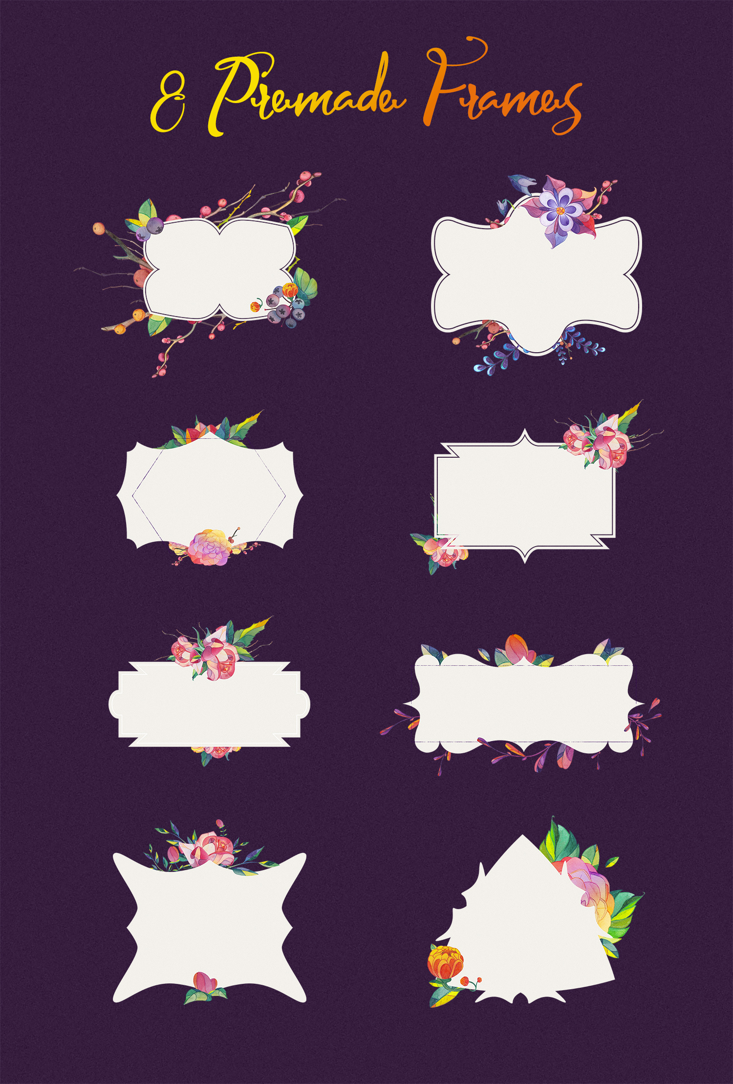 Lunar Flower Watercolor Graphic Kit example image 4