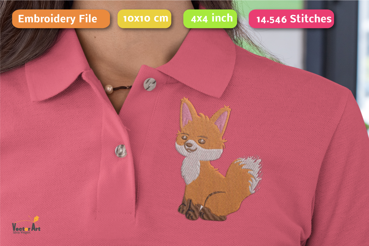 Fox - Embroidery File - 4x4 inch example image 3