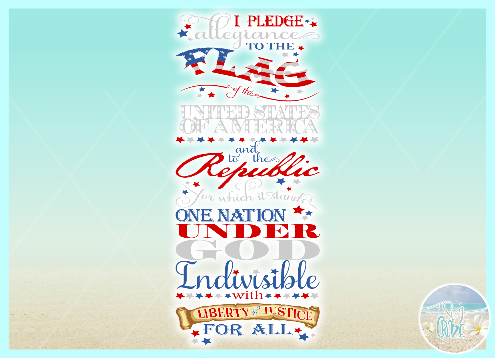 Pledge Of Allegiance Vertical Porch Sign Svg Dxf Eps Png Pdf example image 3