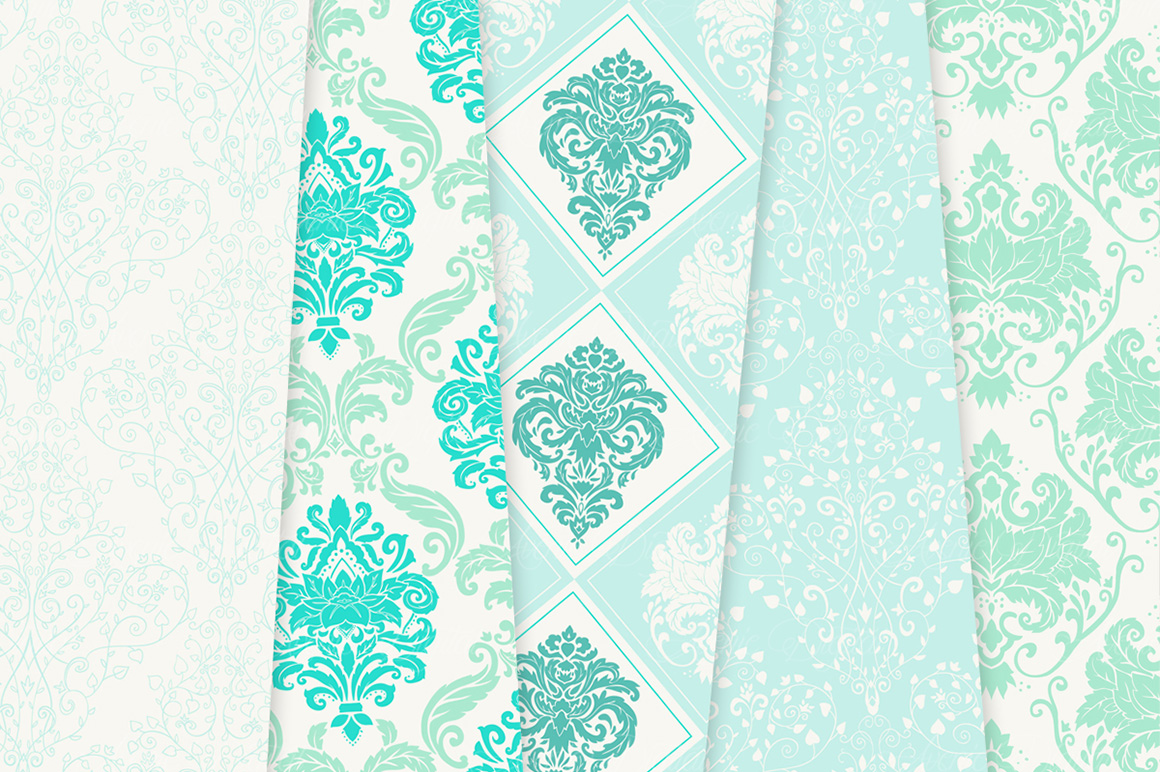 28 Mint Damask Patterns - Wedding Seamless Digital Papers Bundle example image 6
