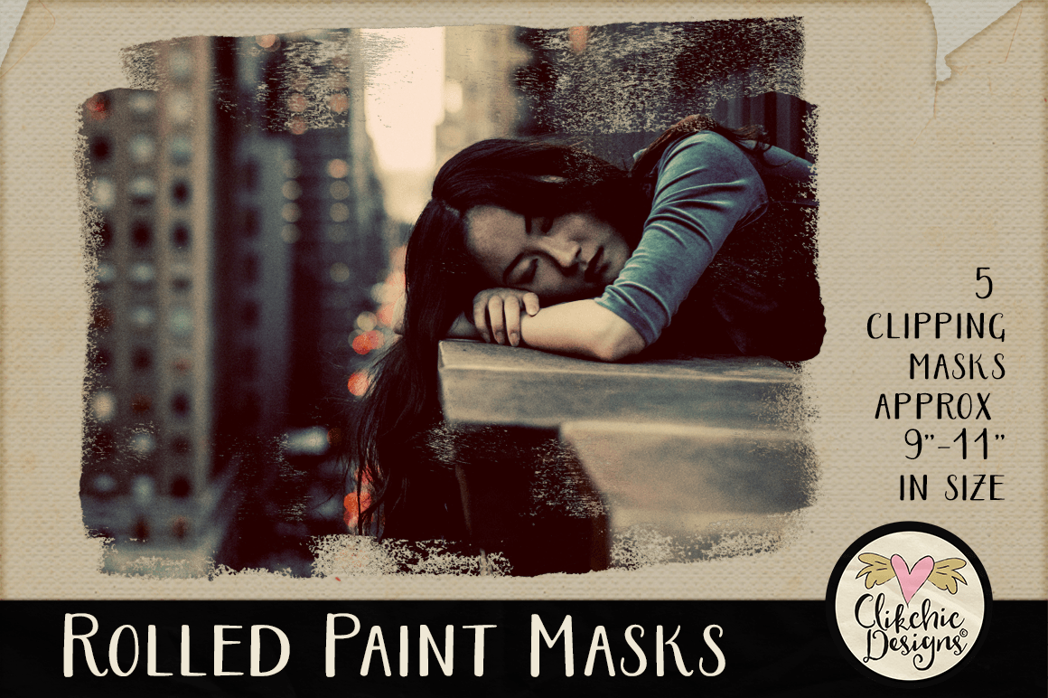 Clipping Masks - Rolled Paint Photoshop Masks & Tutorial example image 1