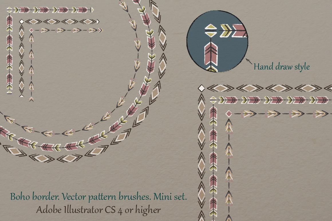 Boho border. Vector pattern brushes. Mini set. example image 1