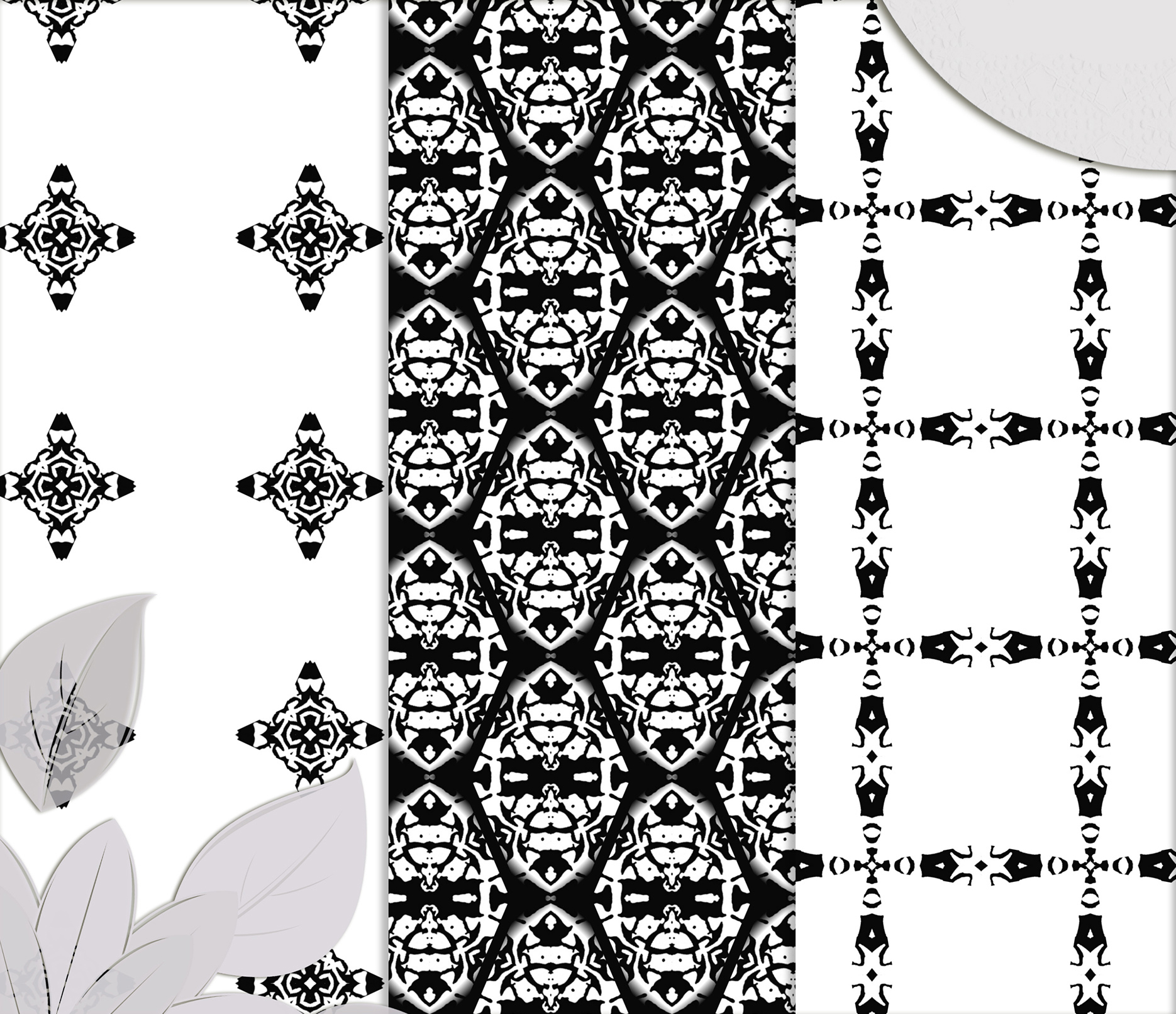 Black and white Digital Scrapbook Paper example image 3