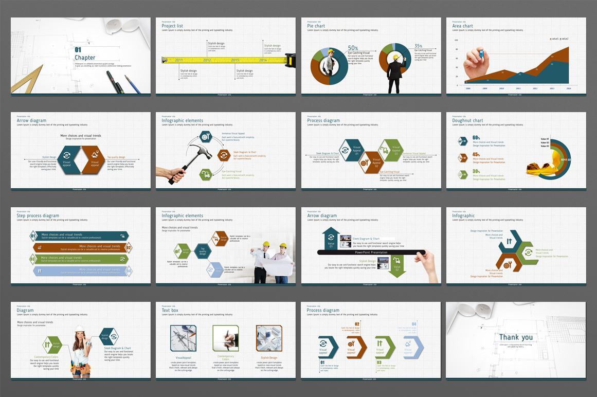 Blueprint PowerPoint Template example image 4
