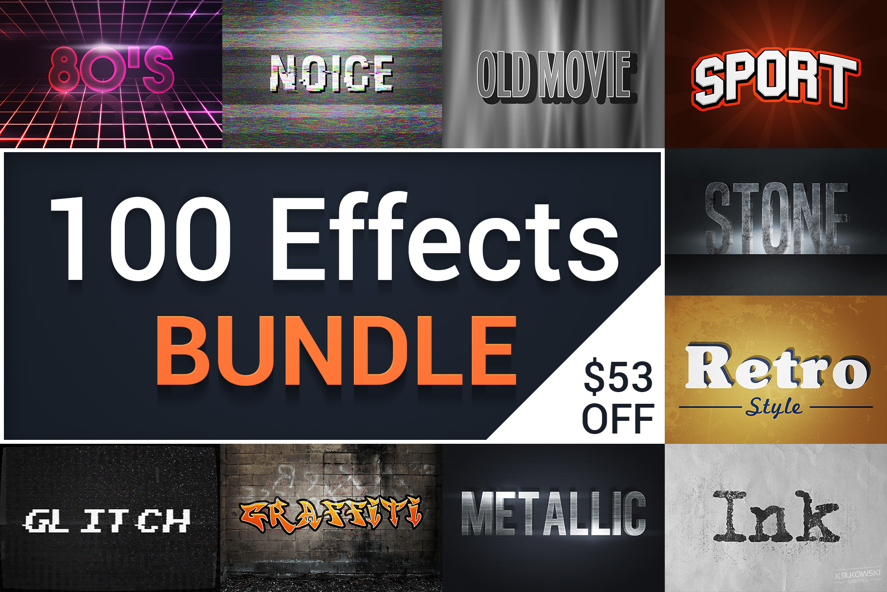 Text Effects Styles Bundle for Photoshop  example image 1