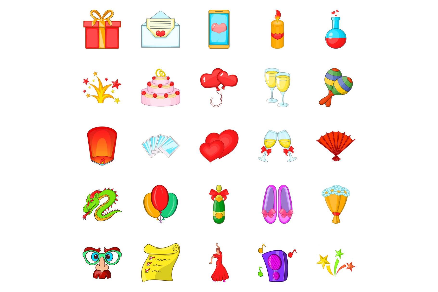 Partying icons set, cartoon style example image 1