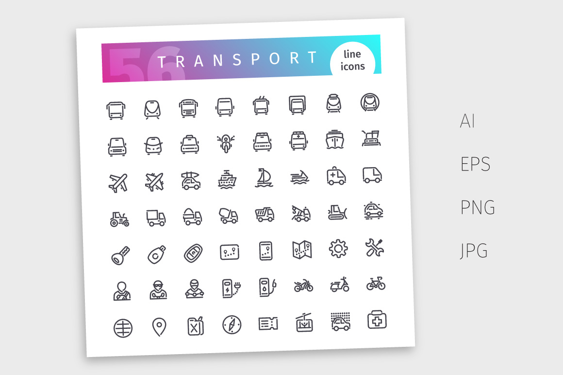 Transport Line Icons Set example image 4