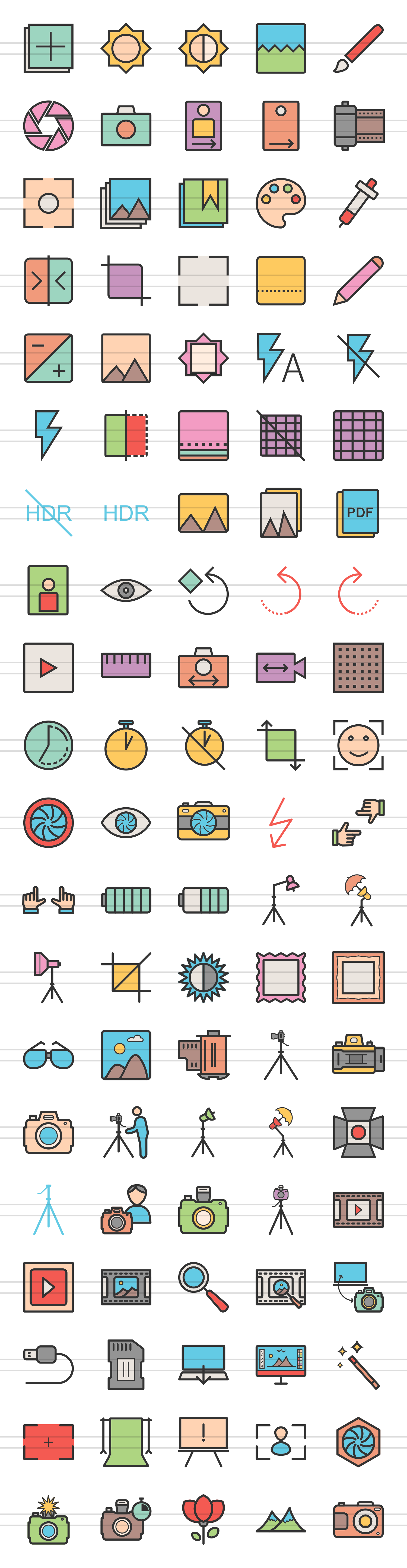 100 Photography & Picture Filled Line Icons example image 2