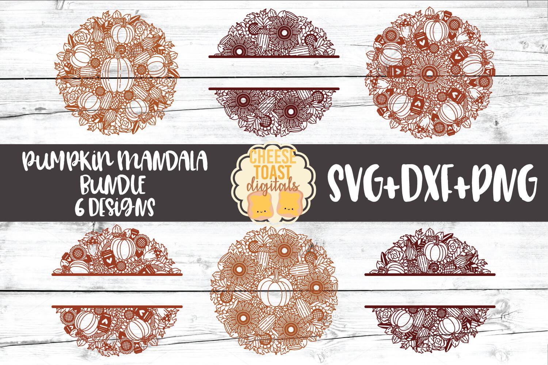 Pumpkin Mandala Bundle - Fall Split Mandala SVG PNG DXF File example image 1