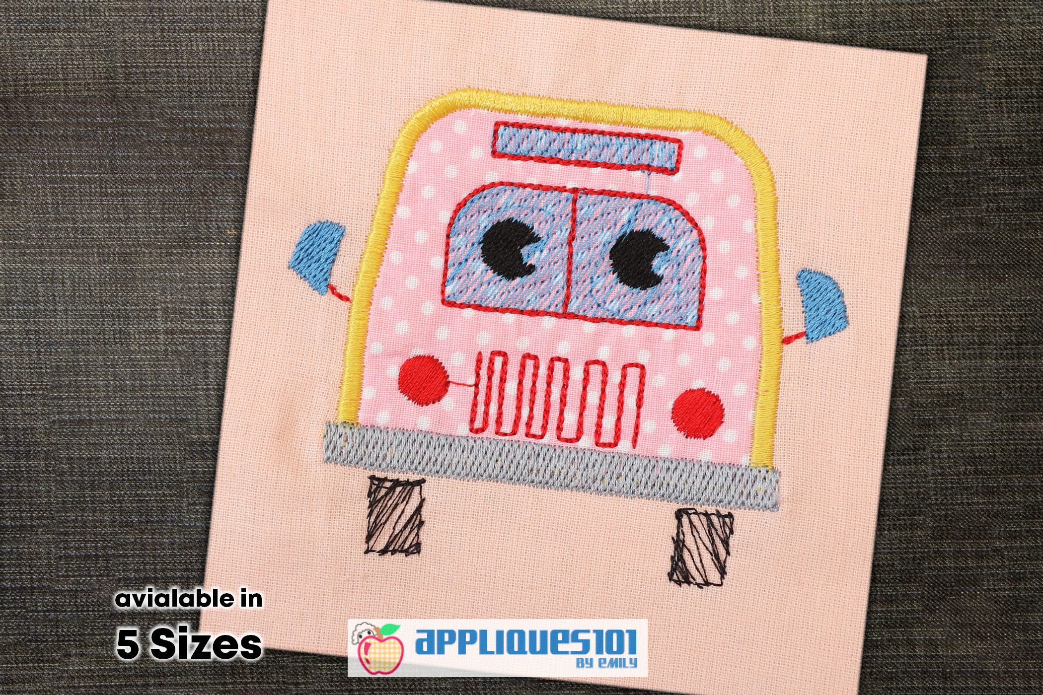 School Bus Front Embroidery Applique Design - Buses example image 1