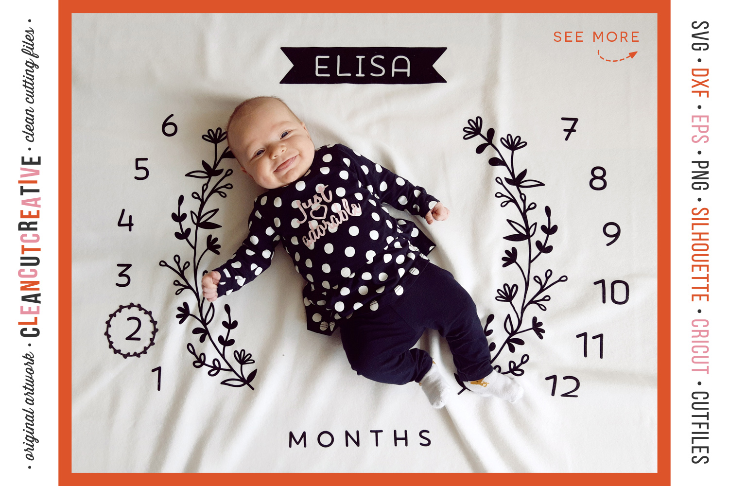 Baby MONTHLY MILESTONE BLANKET - SVG design for crafters example image 1