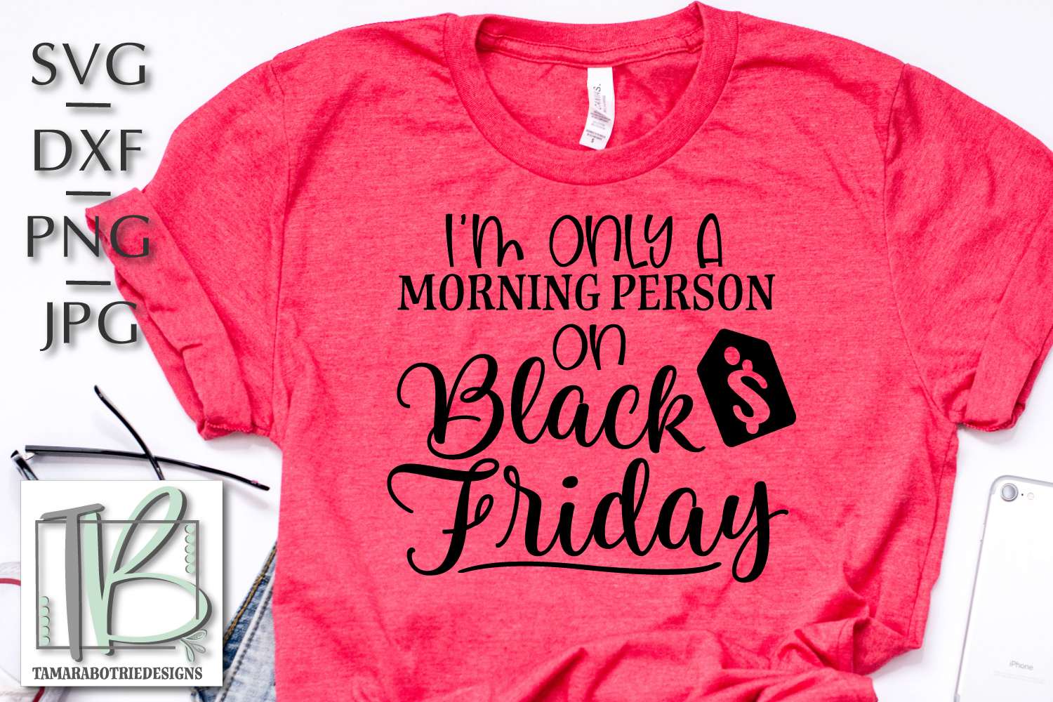 I'm Only a Morning Person on Black Friday SVG, Cut File example image 1