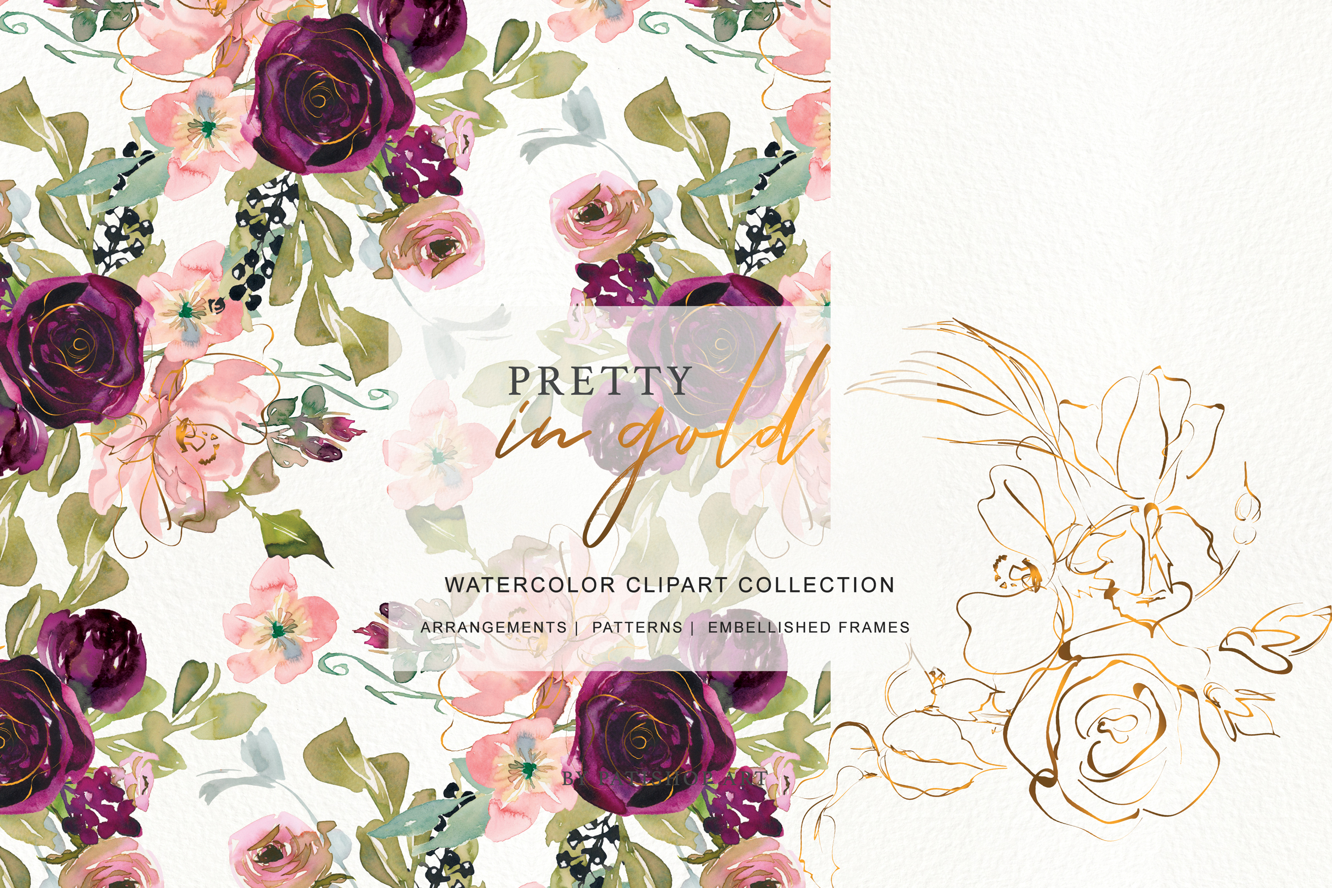 Watercolor Burgundy Blush and Gold Floral Bouquet Clipart example image 7