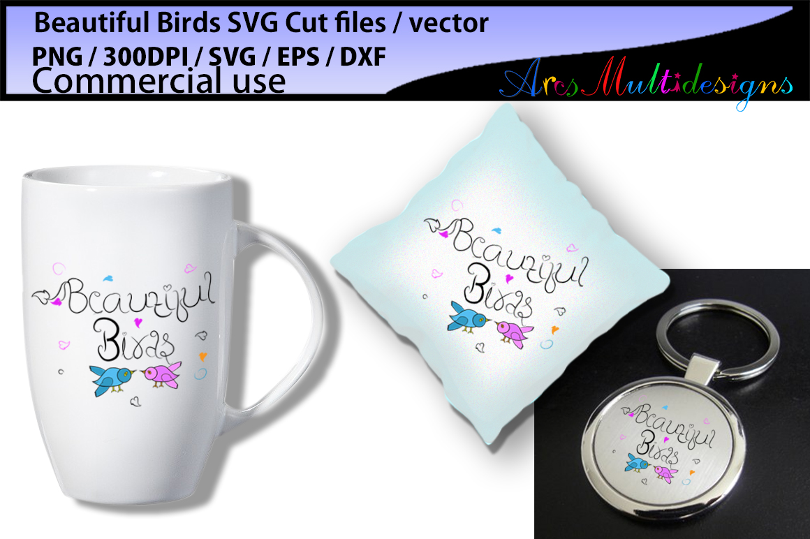 Beautiful birds SVG, EPS, Dxf, Png, Pdf, Jpg / hand drawn SVG cut file vector / Commerical & personal use example image 3