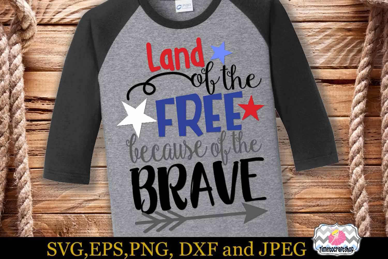 SVG EPS JPG DXF PNG Land of the Free because of the brave example image 1