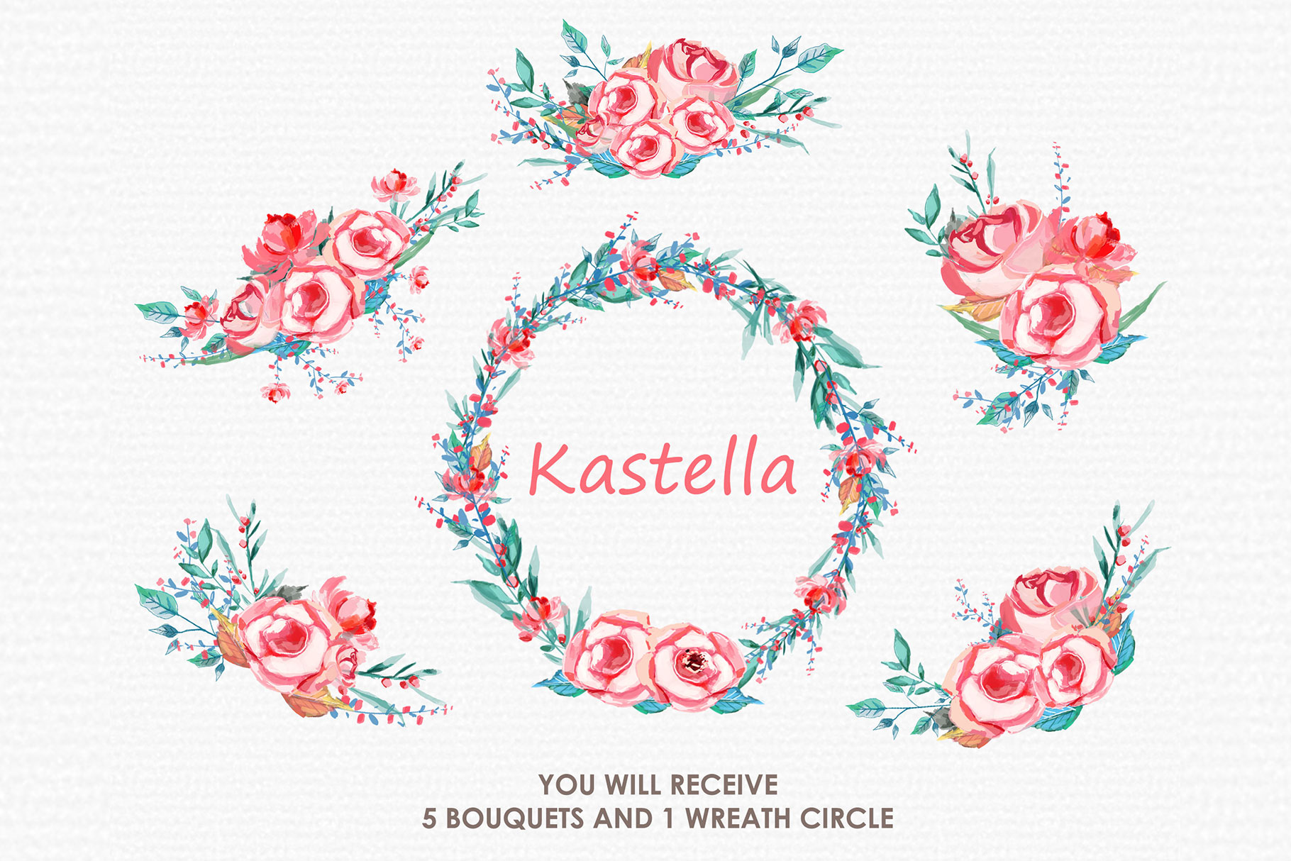 Kastella - Digital Watercolor Floral Flower Style Clipart example image 3