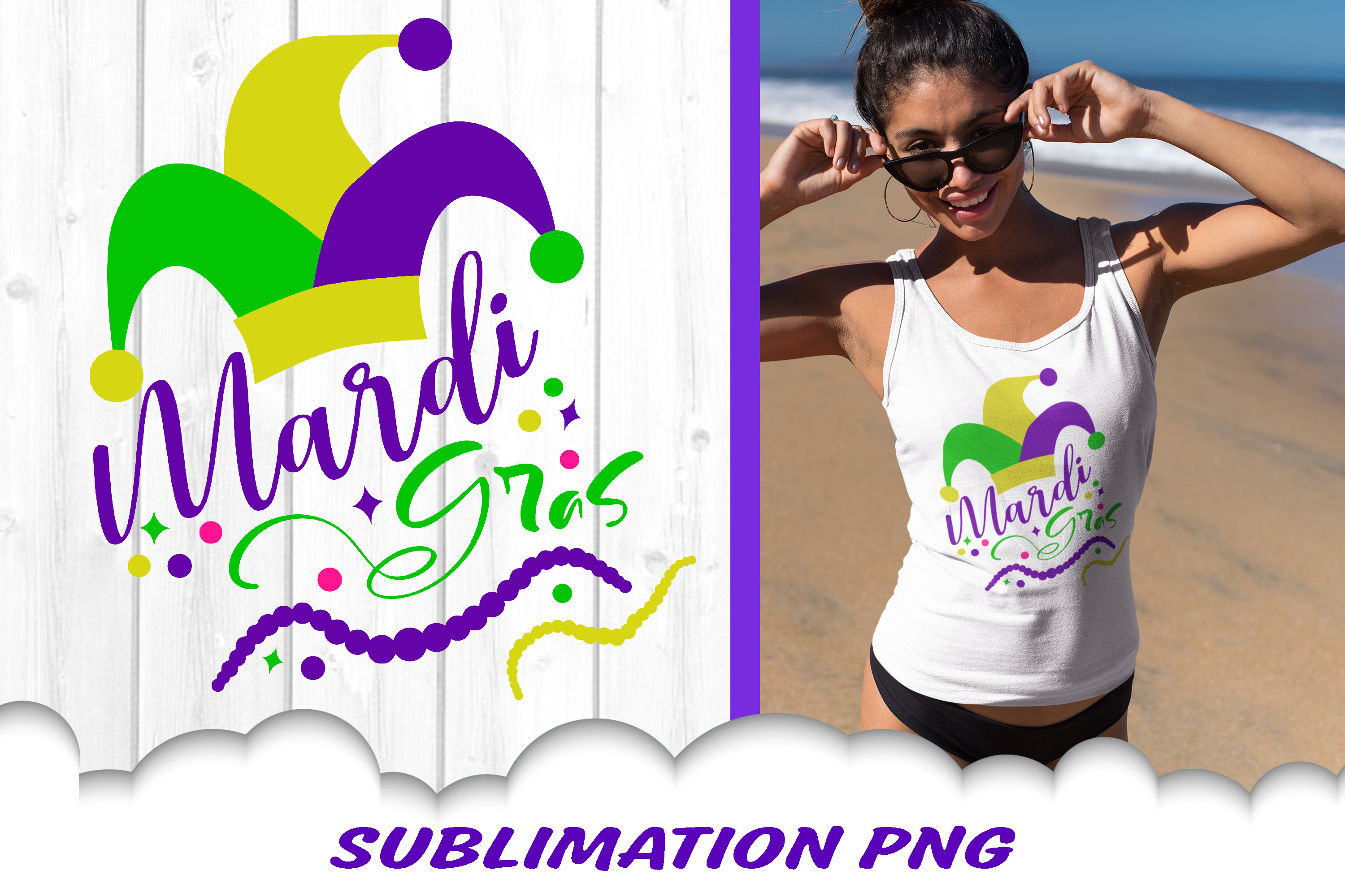Mardi Gras Jester Hat Beads Sublimation PNG example image 1