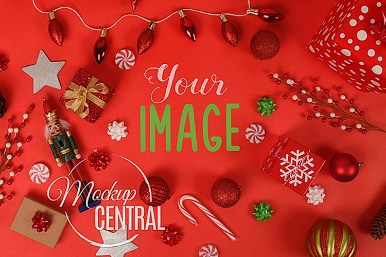 Red Christmas Background Tabletop Mock Up, JPG Mockup example image 1