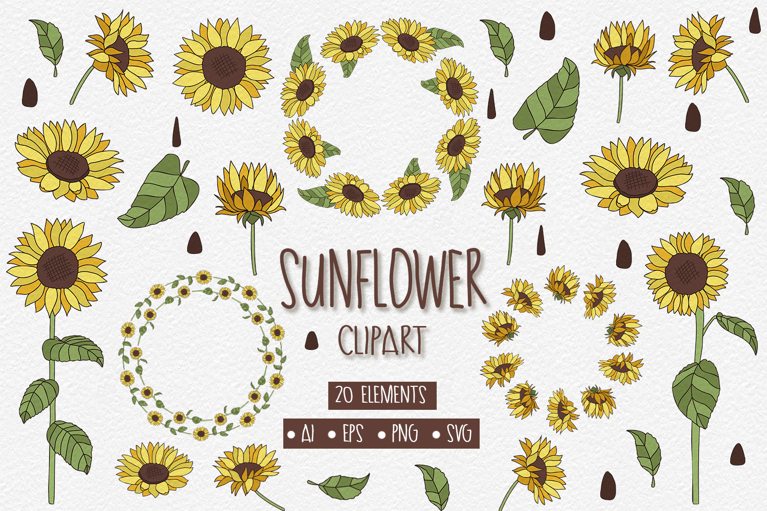 20 Sunflower Clipart Elements example image 1