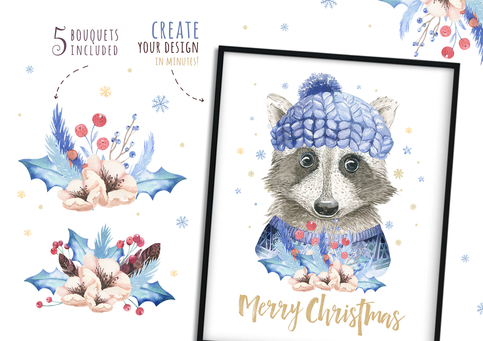 Christmas raccoon and deer animals example image 9