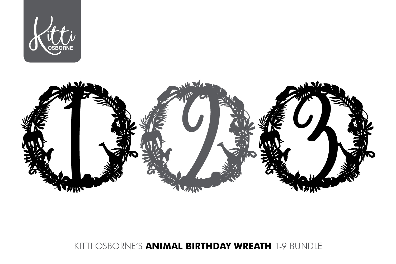 Animal Birthday Wreath 1-9 Bundle example image 2
