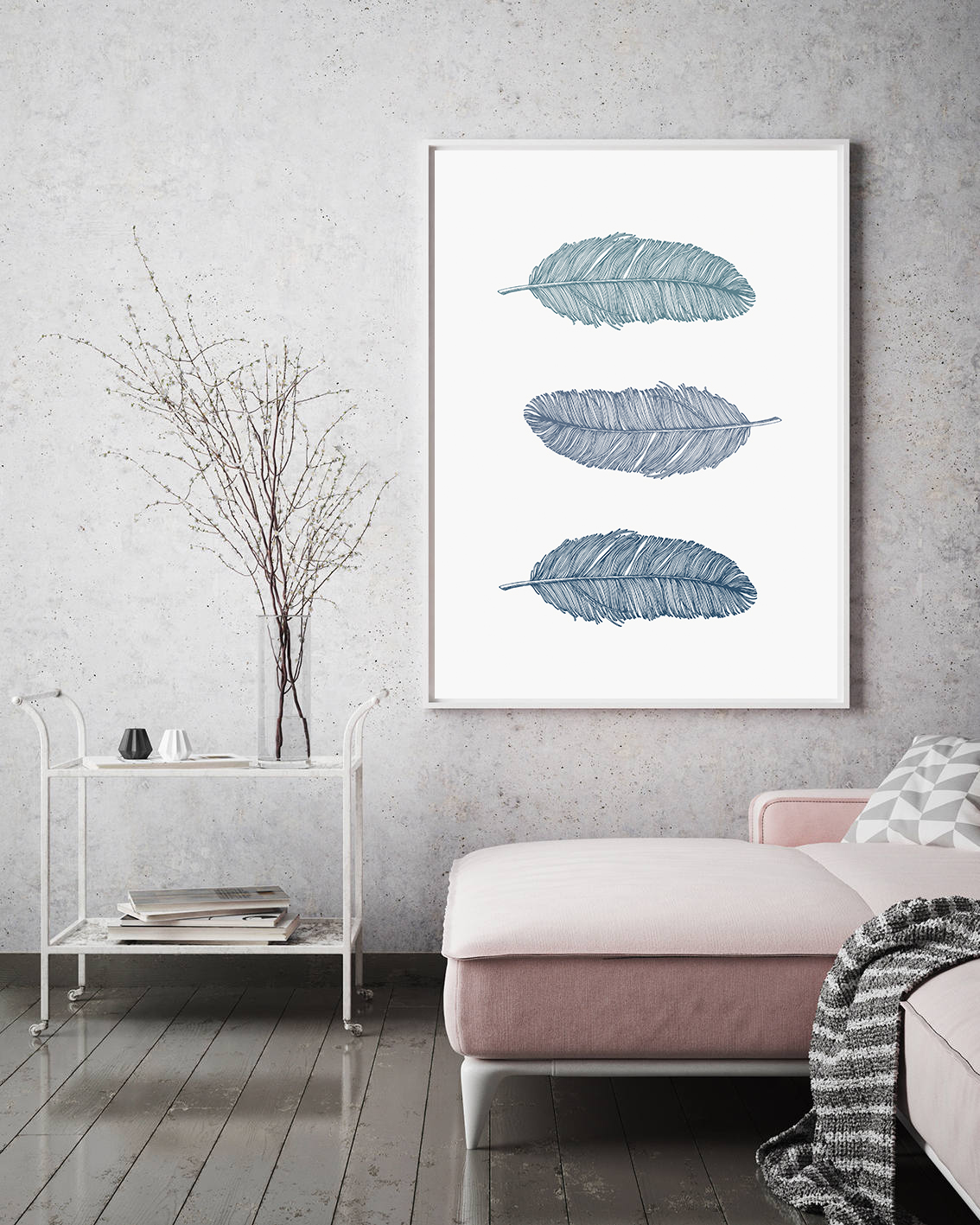 Blue Feather Prints, Bohemian Wall Art Blue, Nursery Poster example image 4