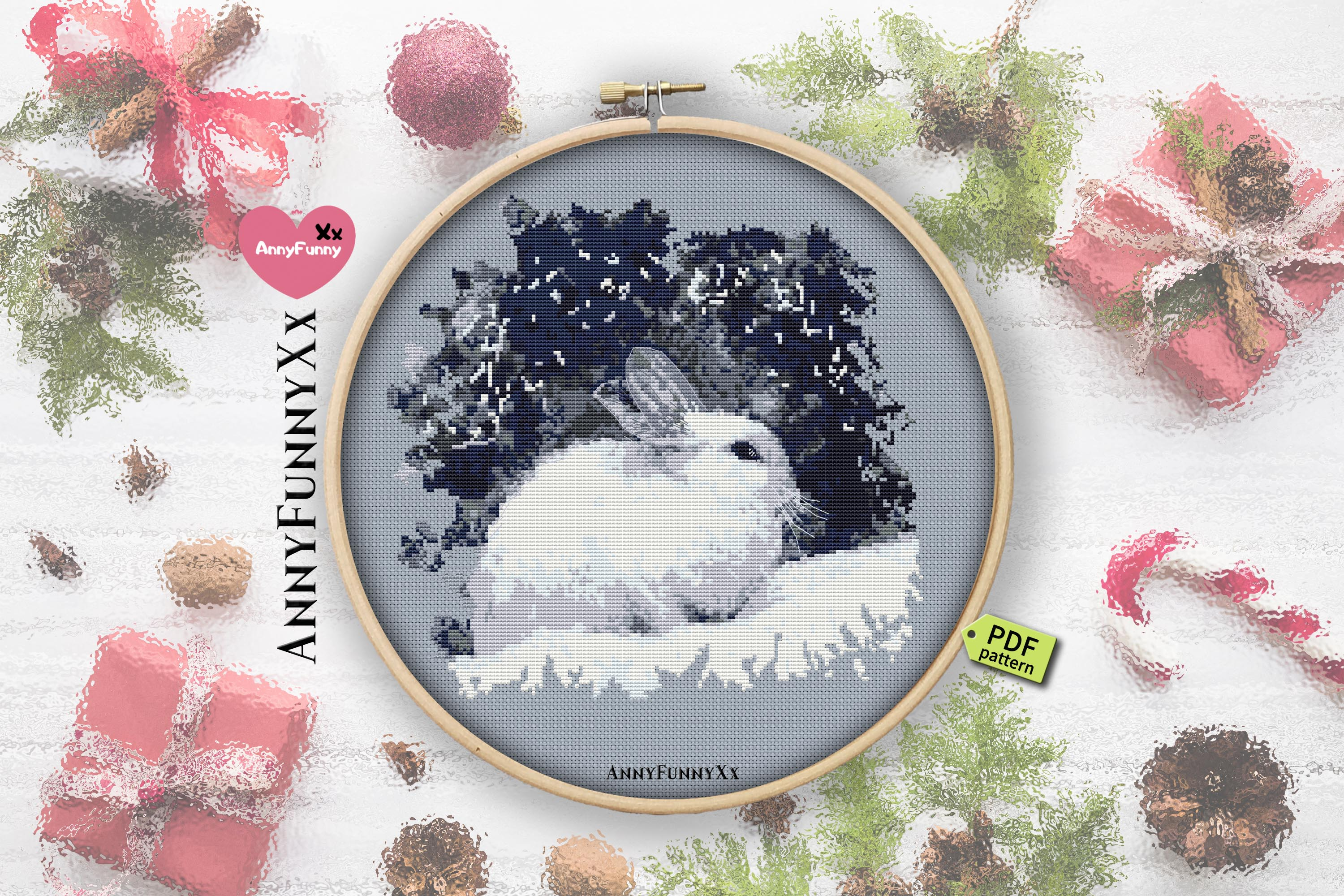 Cross stitch pattern christmas vacation Set example image 2