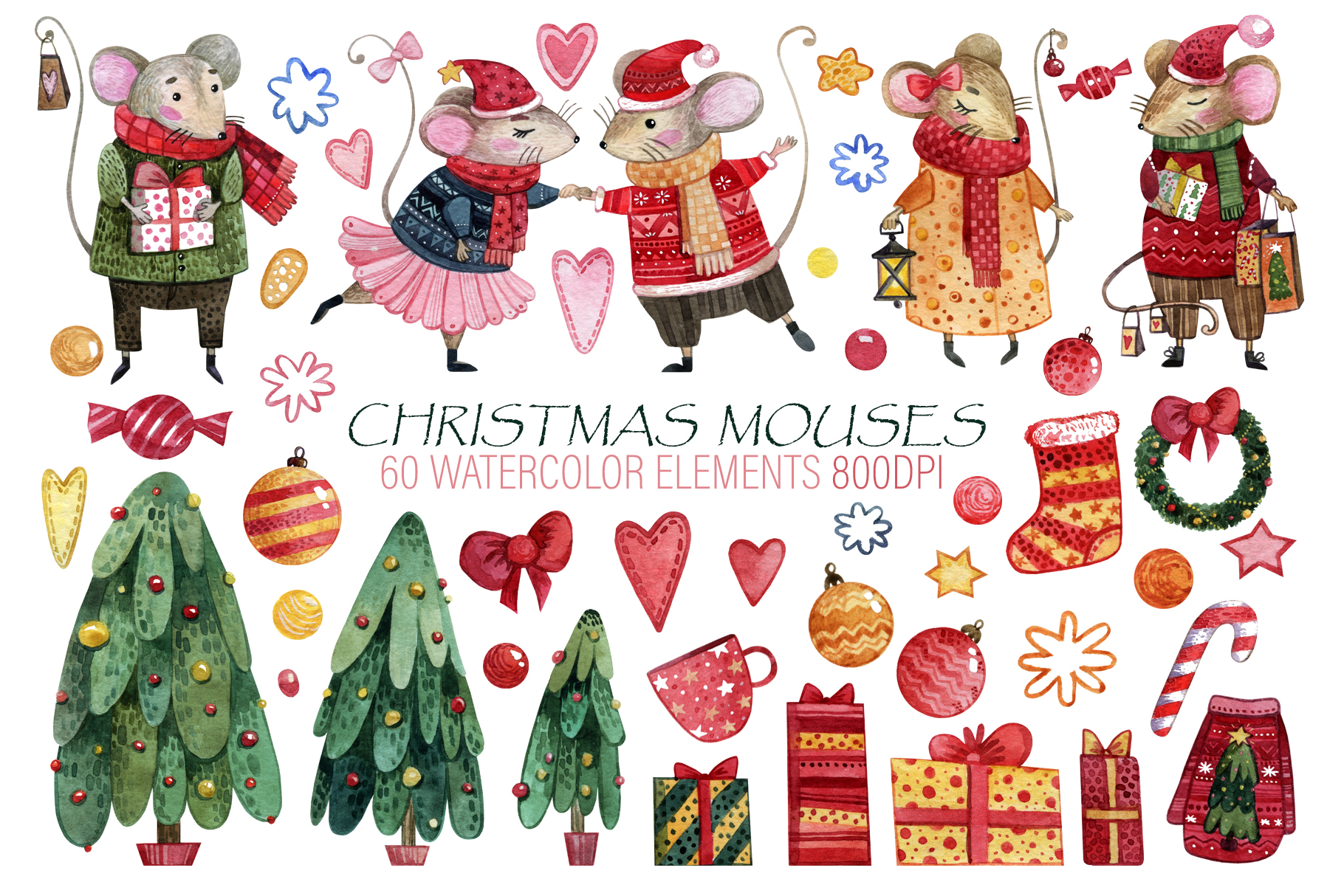 Christmas mouses watercolor collection example image 2
