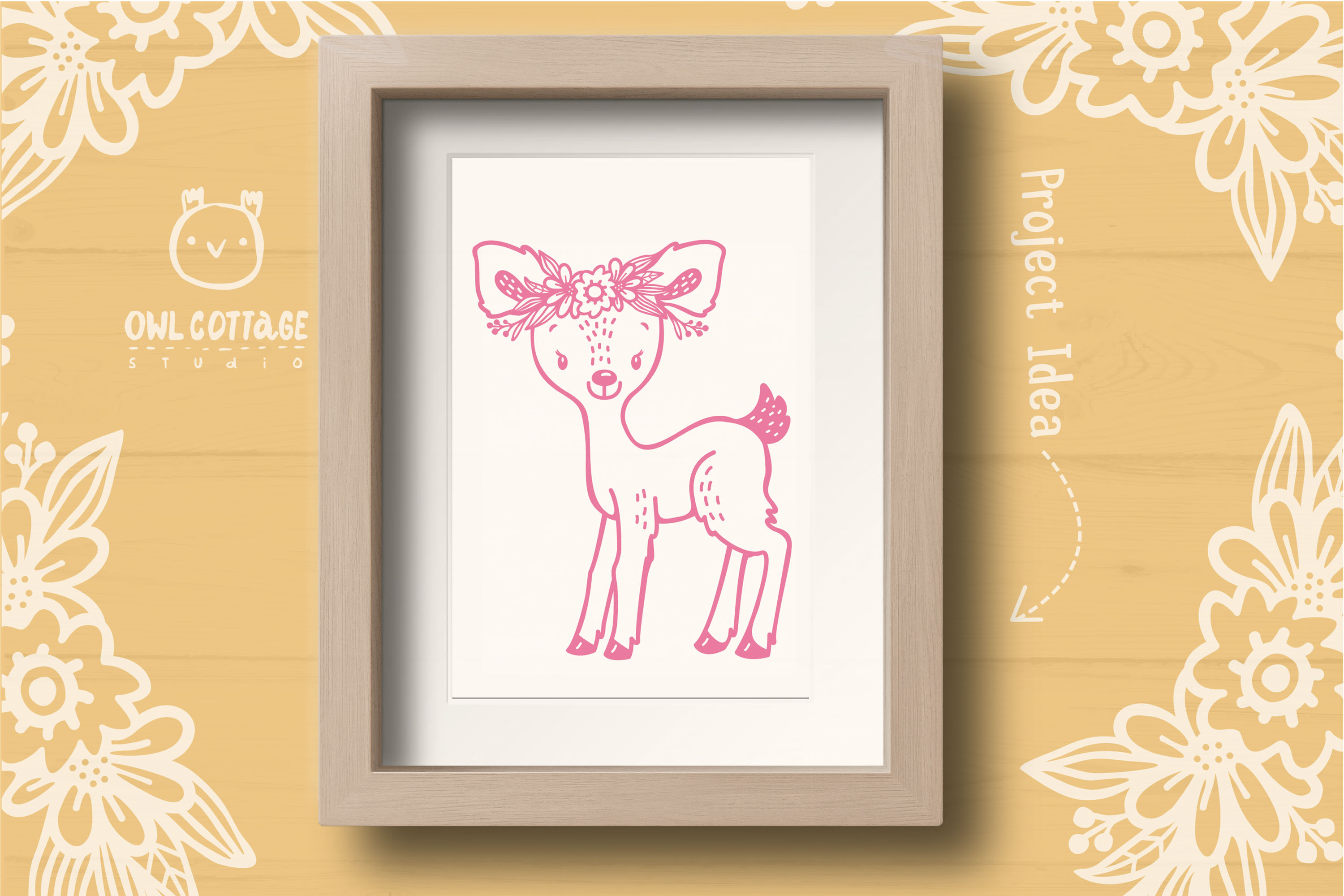 Baby Deer with Flowers Crown Svg , Favn Cut File example image 7