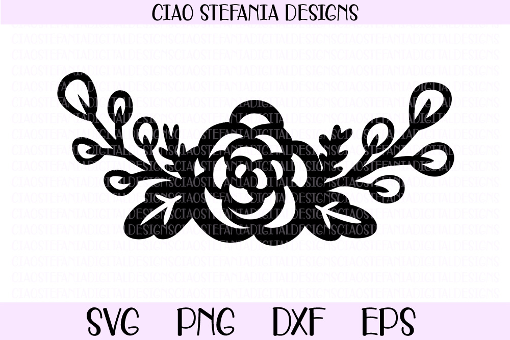 Rose Bouquet Flowers Half Wreath SVG PNG DXF EPS Cut File example image 1