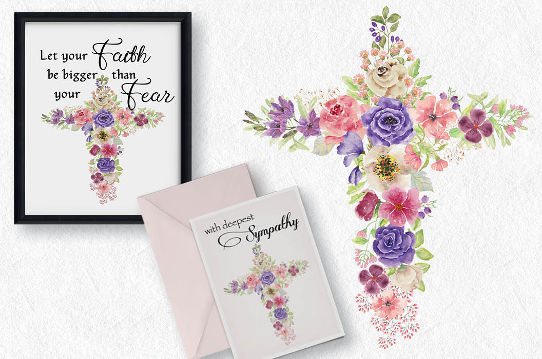 Watercolor floral cross in rainbow shades example image 2
