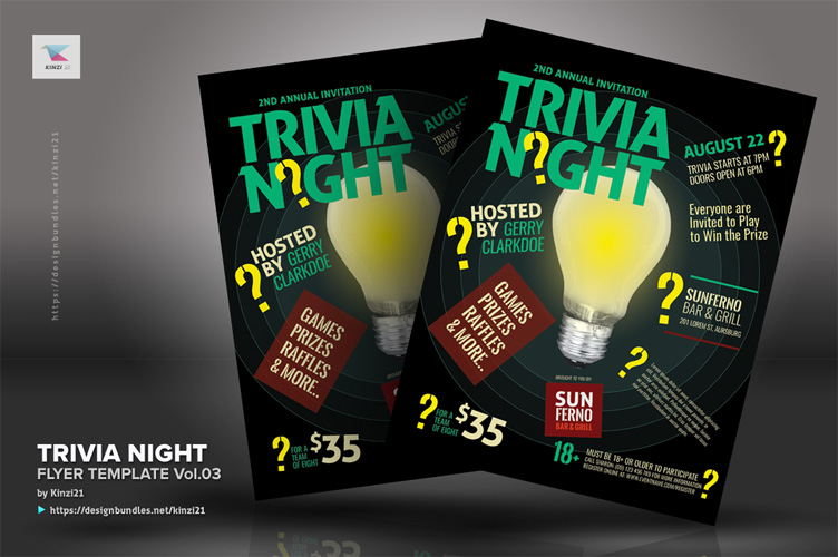 Trivia Night Flyer Template vol.03 example image 2