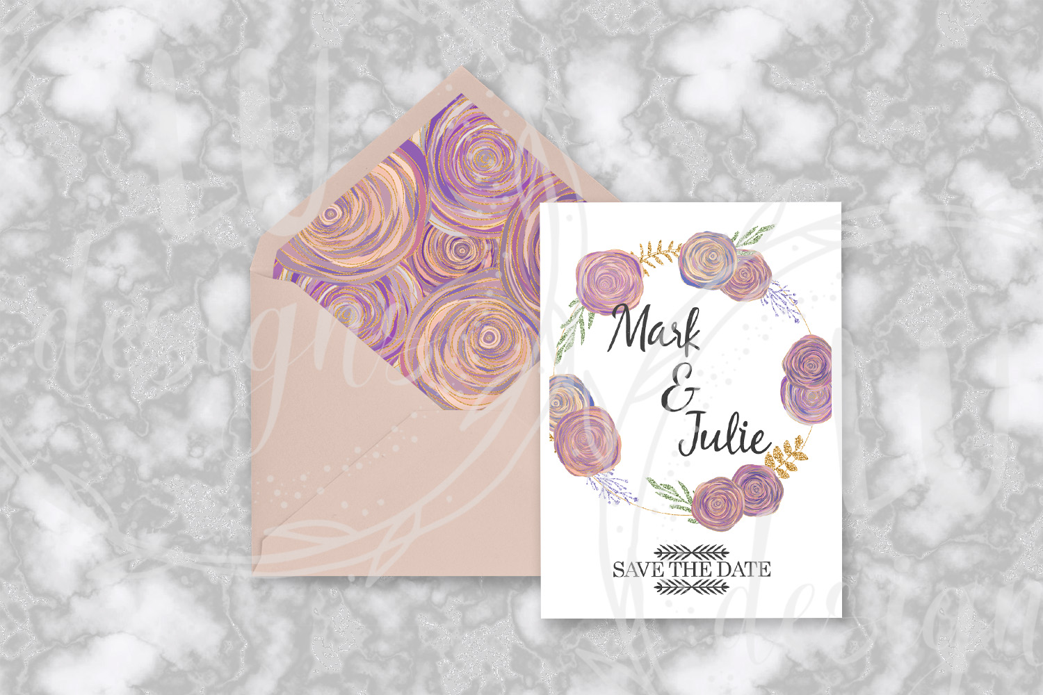 Floral and Glitter Clipart, Purple Flowers Graphics example image 8
