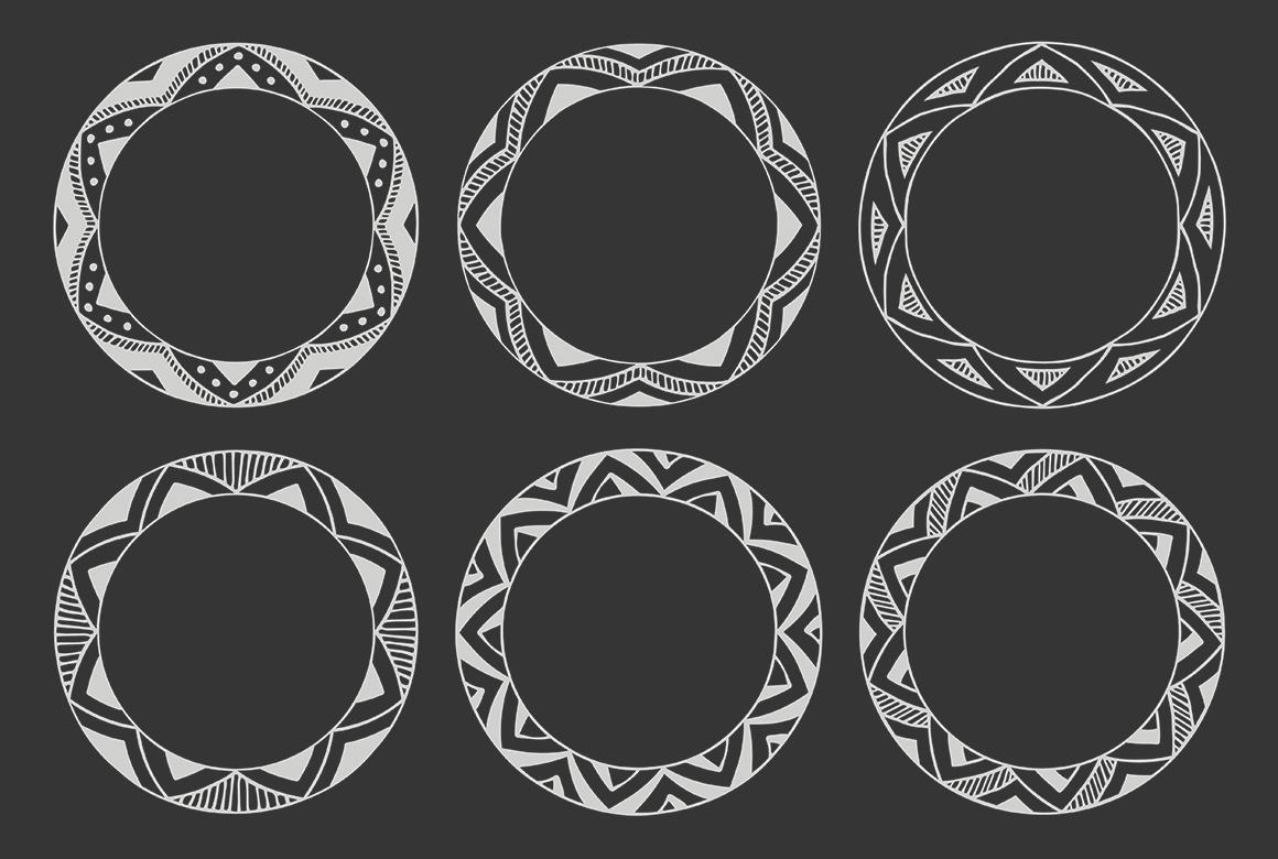 90 Hand Drawn Decorative Round Frames example image 13
