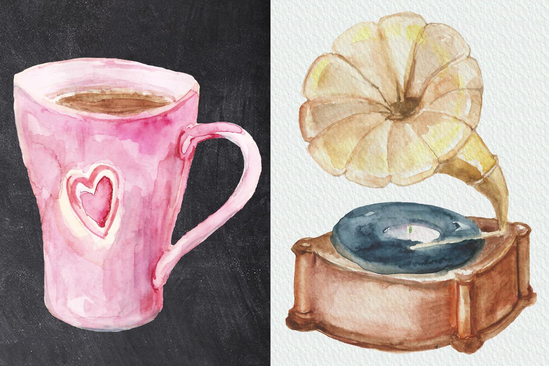 Watercolor Parisian cafe clip art example image 4