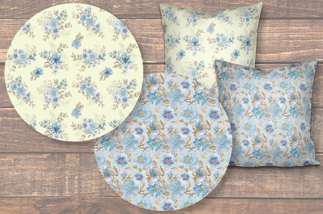 Powder blue watercolor floral patterns example image 3