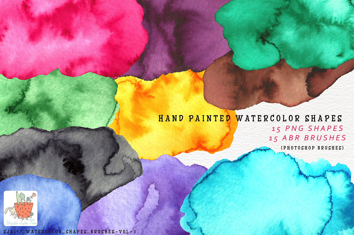Watercolor Splotches Shapes Brushes Vol 3 example image 1