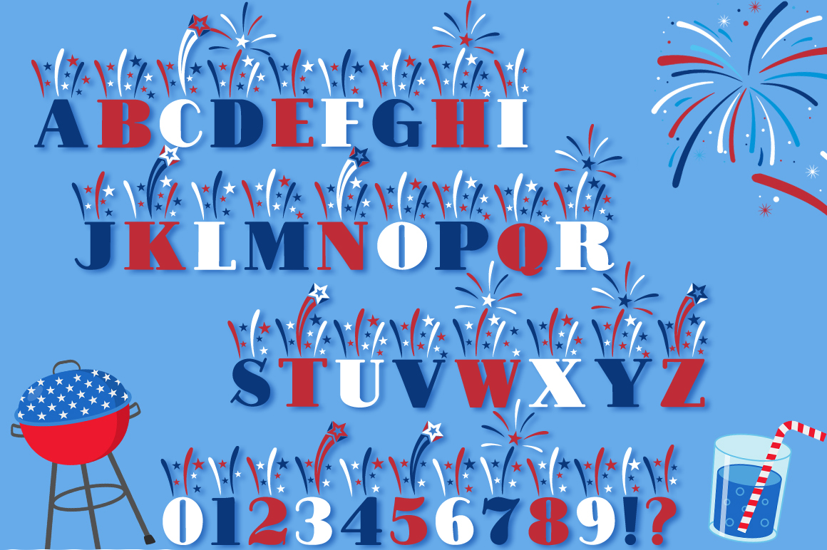 Fireworks 4th of July Font & Bonus Star Studded Font example image 2