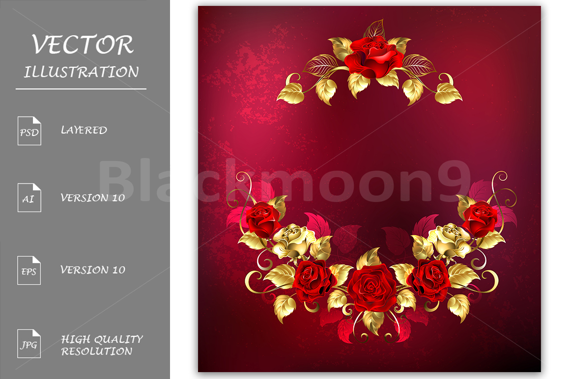 Symmetrical Garland of Gold and Red Roses example image 1
