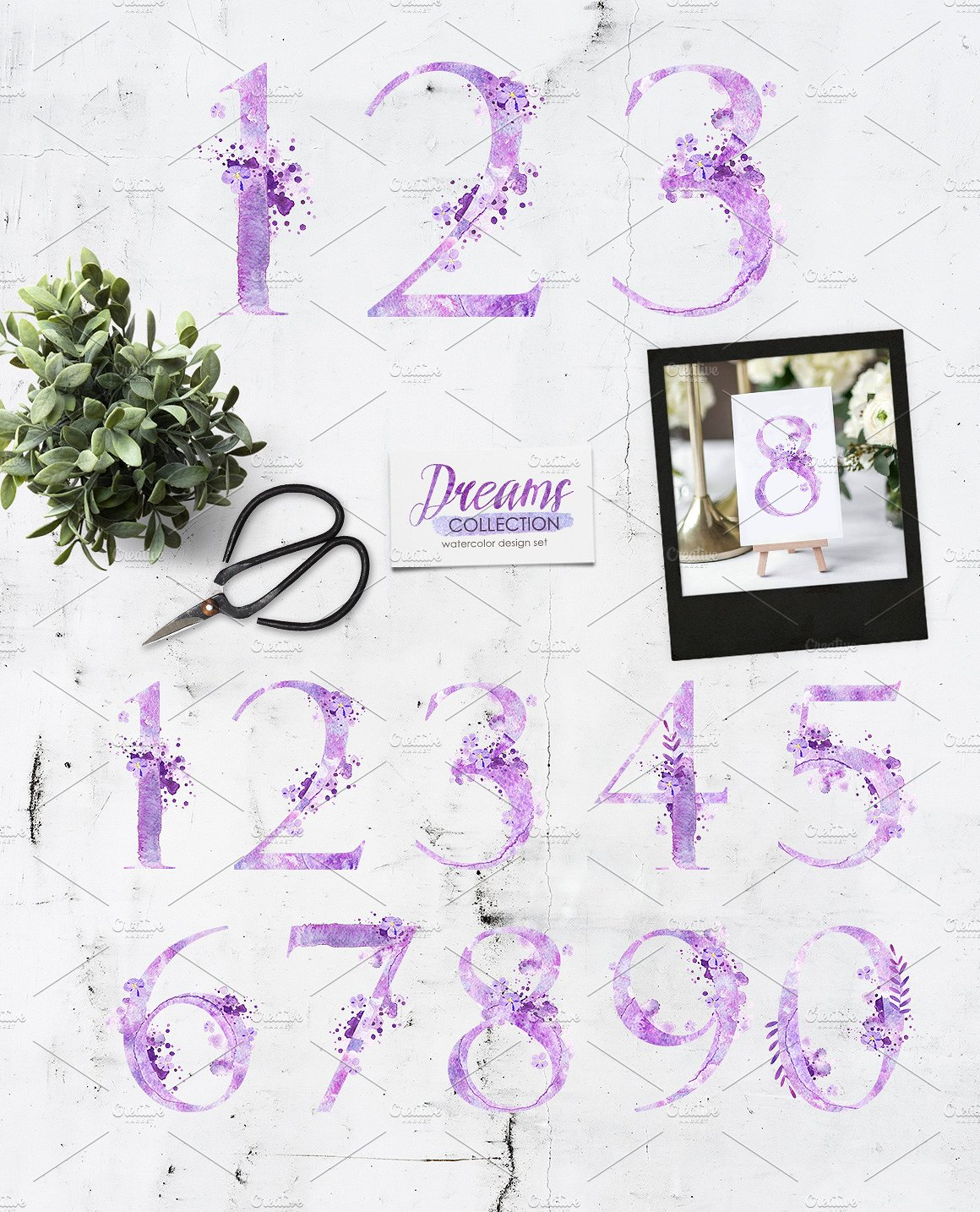 Watercolor numbers - DREAMS example image 2